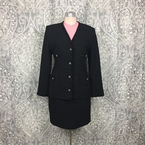 Vintage TJ Nites Ricki Freeman Boucle Skirt Suit